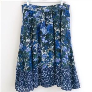 Adrianna Papell Blue Floral Pleated Skirt Pockets